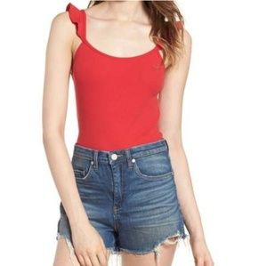 New! BP Red Ribbed Ruffle Tank Top